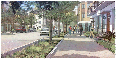 "An artist rendition of Houston's Bagby Street, a ""complete-street"" featuring nature-based infrastructure."